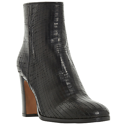 Dune Black Ozzy Textured Block Heeled Ankle Boots, Black Leather