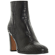 Buy Dune Black Ozzy Textured Block Heeled Ankle Boots, Black Leather Online at johnlewis.com