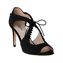 Buy L.K. Bennett Ellena Tie Peep Toe Sandals, Black Online at johnlewis.com