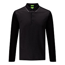 Buy BOSS Green C-Acciano Long Sleeve Polo Shirt, Black Online at johnlewis.com