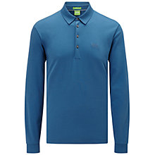 Buy BOSS Green C-Paderna 30 Long Sleeve Polo Shirt, Open Blue Online at johnlewis.com