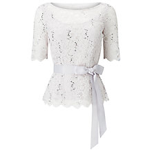 Buy Jacques Vert Delicate Corded Lace Top, Light Grey Online at johnlewis.com