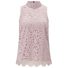 Buy Jacques Vert Lace High Neck Top, Pink Online at johnlewis.com