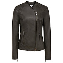 Buy Reiss Rivington Leather Biker Jacket, Olive Online at johnlewis.com