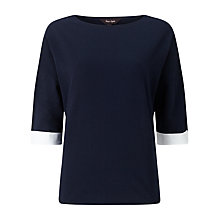 Buy Phase Eight Winifred Colour Block Top, Navy/White Online at johnlewis.com