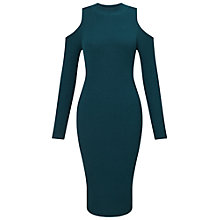 Buy Miss Selfridge Cold Shoulder Knit Dress, Teal Online at johnlewis.com