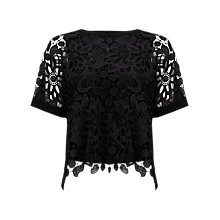 Buy Phase Eight Georgie Lace Front Blouse, Black Online at johnlewis.com
