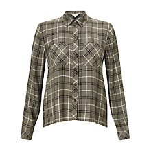 Buy Miss Selfridge Petite Check Shirt, Khaki Online at johnlewis.com