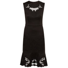 Buy Ted Baker Chrysa Embroidered Frill Hem Dress, Black Online at johnlewis.com