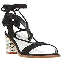 Buy Dune Jolly Pom Pom Block Heel Sandals, Black Suede Online at johnlewis.com