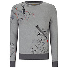 Buy BOSS Orange Wheel Style Crew Neck Jumper, Light Pastel Grey Online at johnlewis.com