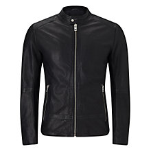 Buy BOSS Orange Slim Fit Jofynn Leather Jacket, Black Online at johnlewis.com