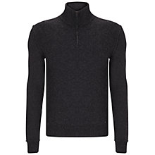 Buy BOSS Orange Kwemare Zip Jumper, Dark Grey Online at johnlewis.com
