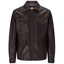 Buy BOSS Orange Jicasso Leather Jacket, Dark Brown Online at johnlewis.com