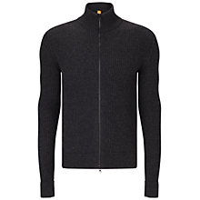 Buy BOSS Orange Kasnarem Zip Jumper, Dark Grey Online at johnlewis.com