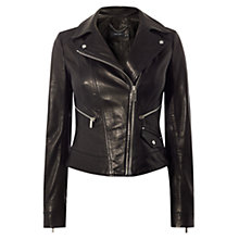 Buy Karen Millen Investment Leather Biker Jacket, Black Online at johnlewis.com