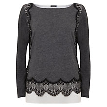 Buy Mint Velvet Marl Lace Edge Jersey, Grey Online at johnlewis.com