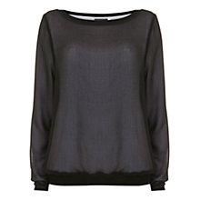 Buy Mint Velvet Black Chiffon Sweatshirt, Black Online at johnlewis.com