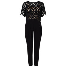 Buy Jacques Vert Petite Lace Top Jumpsuit, Black Online at johnlewis.com