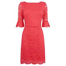 Buy Oasis Lace Bell Sleeve Shift Dress, Mid Pink Online at johnlewis.com