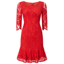 Buy Jacques Vert Petite Peplum Lace Dress, Red Online at johnlewis.com