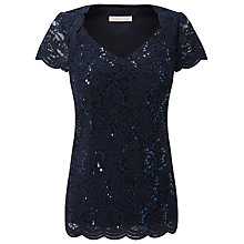 Buy Jacques Vert Jersey Stretch Sequin Top, Navy Online at johnlewis.com