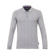 Buy Ted Baker Electro Long Sleeve Polo Shirt, Light Grey Online at johnlewis.com