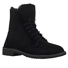 Buy UGG Quincy Lace Up Ankle Boots, Black Online at johnlewis.com