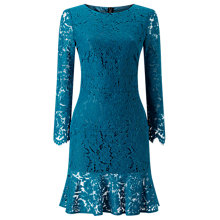Buy Jacques Vert Lace Flute Hem Dress, Mid Blue Online at johnlewis.com