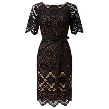 Buy Jacques Vert Lace Contrast Shift Dress, Black Online at johnlewis.com