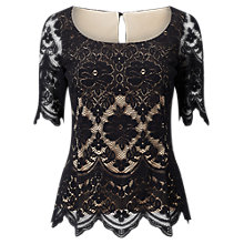 Buy Jacques Vert Lace Contrast Jersey Top, Black Online at johnlewis.com