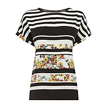 Buy Oasis Stripe Ditsy T-Shirt, Multi/Neutral Online at johnlewis.com