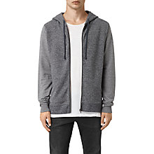 Buy AllSaints Trema Full Zip Hoodie, Charcoal Mouline/Cement Online at johnlewis.com