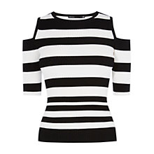 Buy Karen Millen Stripe Skinny Rib Jumper, Black & White Online at johnlewis.com