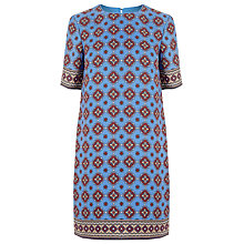 Buy Warehouse Tile Print Shift Dress, Blue Online at johnlewis.com