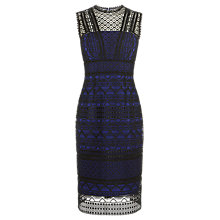 Buy Karen Millen Lace Panel Pencil Dress, Black/Blue Online at johnlewis.com