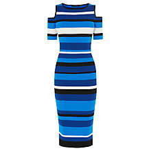 Buy Karen Millen Graphic Skinny Ribbed Knit Dress, Blue Online at johnlewis.com