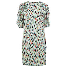 Buy Warehouse Zig Zag Print Ruffle Dress, Multi Online at johnlewis.com