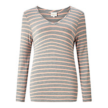 Buy East V-Neck Breton Stripe Top, Soft Blush/Grey Online at johnlewis.com