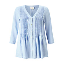 Buy East Linen Pintuck V Neck Blouse, Sky Online at johnlewis.com