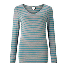 Buy East V Neck Bretton Stripe Top, Teal Online at johnlewis.com