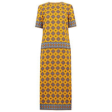 Buy Warehouse Tile Print Column Midi Dress, Mustard Online at johnlewis.com