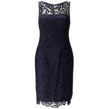 Buy Adrianna Papell Illusion Neck Lace Cocktail Dress, Midnight Blue Online at johnlewis.com