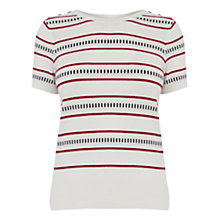 Buy Oasis Stripe Button Knit Top, Multi Online at johnlewis.com
