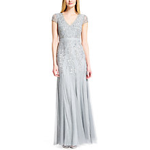 Buy Adrianna Papell Cap Sleeve Beaded Godet Dress, Blue Mist Online at johnlewis.com