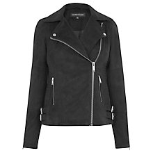 Buy Warehouse Suedette Biker Jacket, Black Online at johnlewis.com