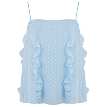 Buy Warehouse Ruffle Spot Cami Top, Light Blue Online at johnlewis.com