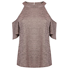 Buy Warehouse Metallic Cold Shoulder Top, Light Pink Online at johnlewis.com