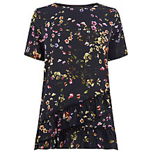 Buy Warehouse Trailing Floral Ruffle Hem T-Shirt, Blue Pattern Online at johnlewis.com