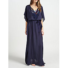 Buy John Lewis Tangia Crochet Detail Maxi Kaftan, Navy Online at johnlewis.com